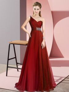 Chiffon Sleeveless Evening Party Dresses Brush Train and Beading