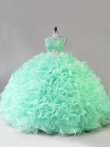 Colorful Sleeveless Beading and Ruffles Zipper Sweet 16 Dress with Apple Green
