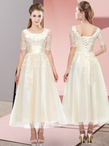 Affordable Scoop Short Sleeves Tulle Court Dresses for Sweet 16 Beading and Lace Lace Up