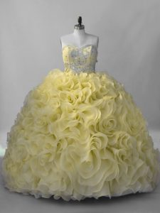 Ball Gowns Sleeveless Yellow Green Quinceanera Gowns Lace Up