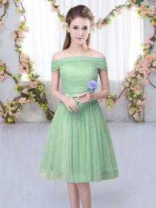 On Sale Green Lace Up Off The Shoulder Belt Court Dresses for Sweet 16 Tulle Short Sleeves