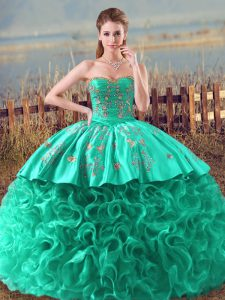 Deluxe Fabric With Rolling Flowers Sleeveless Quinceanera Dress Brush Train and Embroidery and Ruffles