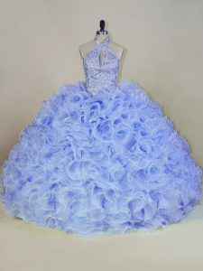 Sexy Lavender Ball Gowns Beading 15 Quinceanera Dress Lace Up Fabric With Rolling Flowers Sleeveless
