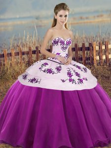 Super Sweetheart Sleeveless Lace Up 15 Quinceanera Dress White And Purple Tulle