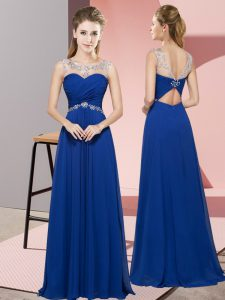 Royal Blue Sleeveless Floor Length Beading Backless Prom Party Dress