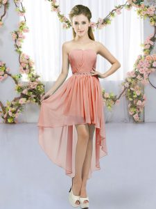Fantastic Peach Chiffon Lace Up Sweetheart Sleeveless High Low Quinceanera Court Dresses Beading