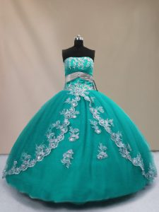 Turquoise Lace Up Strapless Appliques Sweet 16 Quinceanera Dress Tulle Sleeveless