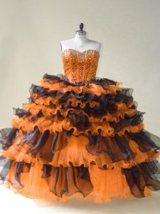 Orange Sweetheart Lace Up Beading 15th Birthday Dress Sleeveless