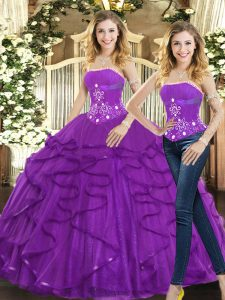 Sophisticated Purple Strapless Neckline Beading and Ruffles 15th Birthday Dress Sleeveless Lace Up