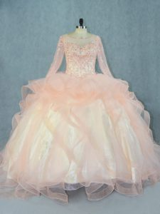 Modern Scoop Long Sleeves Tulle Quince Ball Gowns Beading and Ruffles Lace Up