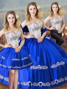Royal Blue Sleeveless Floor Length Beading and Embroidery Lace Up Ball Gown Prom Dress