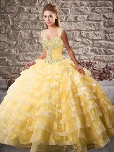 Gold Lace Up Straps Beading and Ruffled Layers Vestidos de Quinceanera Organza Sleeveless Court Train