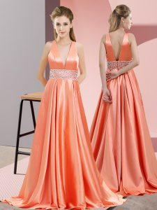 Sleeveless Elastic Woven Satin Brush Train Backless in Orange Red with Beading