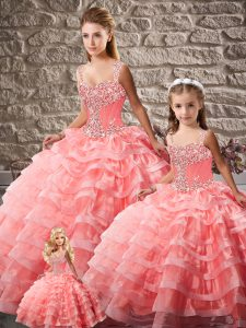 Edgy Watermelon Red Sleeveless Beading and Ruffled Layers Lace Up Quinceanera Dresses