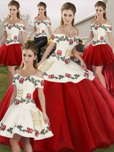 Colorful White And Red Sweet 16 Dress Military Ball and Sweet 16 and Quinceanera with Embroidery Off The Shoulder Sleeveless Lace Up