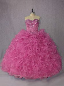 Fantastic Rose Pink Halter Top Lace Up Beading and Ruffles Quince Ball Gowns Brush Train Sleeveless