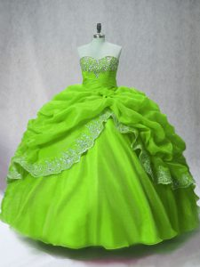 Beauteous Sweetheart Long Sleeves Organza Quinceanera Dresses Beading and Appliques and Pick Ups Lace Up