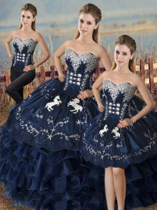 Fashionable Navy Blue Organza Lace Up Sweet 16 Dress Sleeveless Floor Length Embroidery and Ruffles