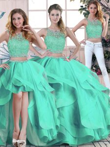Turquoise Sleeveless Beading and Ruffles Floor Length Quince Ball Gowns