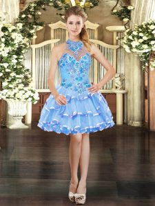 Light Blue Ball Gowns Halter Top Sleeveless Organza Mini Length Lace Up Embroidery and Ruffled Layers Prom Evening Gown