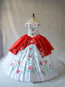 Sweet Embroidery and Ruffled Layers Sweet 16 Dresses White And Red Lace Up Sleeveless