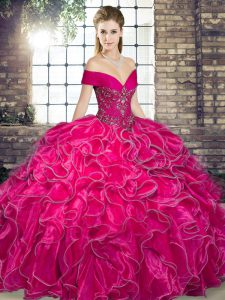 Hot Pink Sweet 16 Quinceanera Dress Military Ball and Sweet 16 and Quinceanera with Beading and Ruffles Off The Shoulder Sleeveless Lace Up