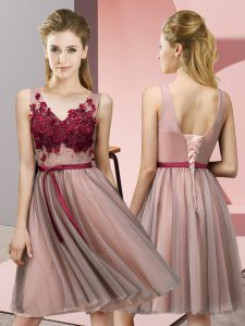 Delicate V-neck Sleeveless Lace Up Dama Dress Baby Pink Tulle