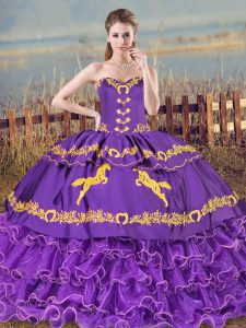 Top Selling Purple Lace Up Sweetheart Embroidery and Ruffled Layers Sweet 16 Dress Organza Sleeveless
