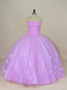 Exceptional Lavender Sleeveless Tulle Lace Up 15th Birthday Dress for Sweet 16 and Quinceanera
