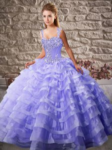 Lavender Organza Lace Up Sweet 16 Dress Sleeveless Court Train Beading and Ruffled Layers