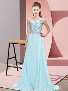 Modest Sleeveless Beading Side Zipper Homecoming Dress