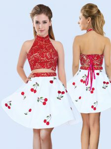 White And Red Lace Up Damas Dress Lace and Pattern Sleeveless Mini Length