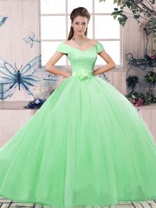 Apple Green Ball Gowns Tulle Off The Shoulder Short Sleeves Lace and Hand Made Flower Floor Length Lace Up Quinceanera Dresses