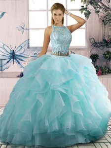 Floor Length Two Pieces Sleeveless Aqua Blue Sweet 16 Dresses Zipper