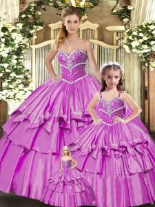 Floor Length Lace Up Sweet 16 Dress Lilac for Sweet 16 and Quinceanera with Beading and Ruffled Layers