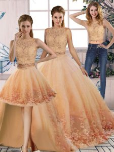 Custom Fit Peach Sleeveless Sweep Train Lace Quinceanera Dress