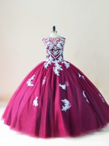 Burgundy Lace Up 15 Quinceanera Dress Beading and Appliques Sleeveless Floor Length