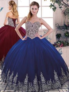 Sleeveless Beading and Embroidery Lace Up Quince Ball Gowns