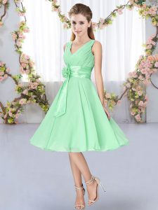 Apple Green Sleeveless Knee Length Hand Made Flower Lace Up Quinceanera Court of Honor Dress