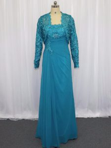 Latest Floor Length Column/Sheath Sleeveless Blue Evening Dress Zipper