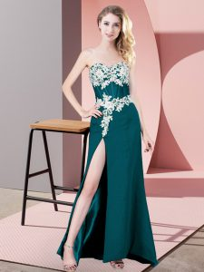 Fantastic Teal Sleeveless Chiffon Zipper Womens Evening Dresses for Prom and Party and Military Ball