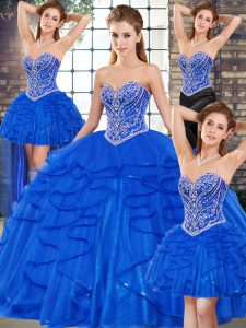 Nice Royal Blue Tulle Lace Up Vestidos de Quinceanera Sleeveless Floor Length Beading and Ruffles