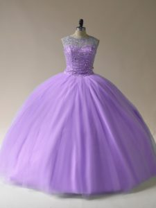 Flirting Scoop Sleeveless Tulle Sweet 16 Quinceanera Dress Beading Lace Up