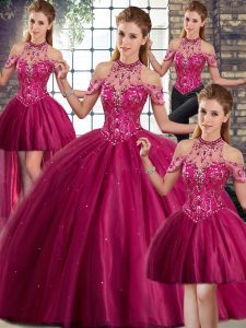 Halter Top Sleeveless Tulle Vestidos de Quinceanera Beading Brush Train Lace Up