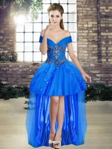 Sexy Blue Sleeveless Beading and Ruffles High Low Evening Outfits