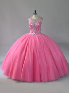 Hot Selling Scoop Sleeveless Lace Up Beading 15th Birthday Dress in Pink