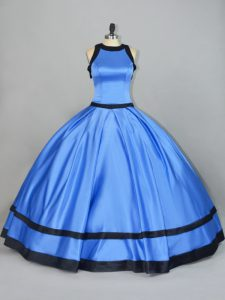 Exquisite Blue Sleeveless Satin Lace Up 15th Birthday Dress for Sweet 16 and Quinceanera