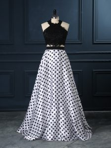 Perfect White And Black Two Pieces Scoop Sleeveless Printed Zipper Lace Dress for Prom