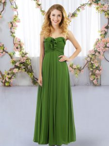 Olive Green Chiffon Lace Up Sweetheart Sleeveless Floor Length Quinceanera Dama Dress Ruffles