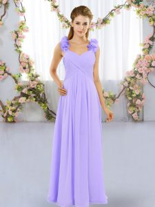 Fashion Floor Length Lavender Dama Dress for Quinceanera Straps Sleeveless Lace Up